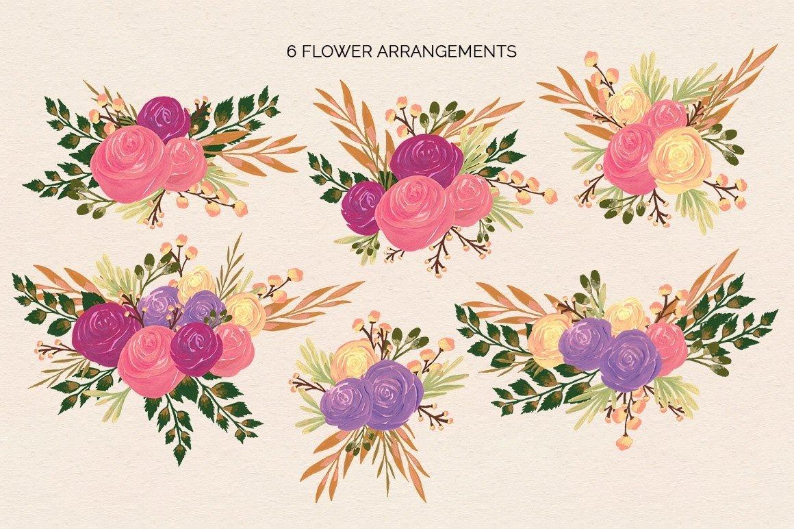 Puspita Gouache Flowers Design Set example image 2