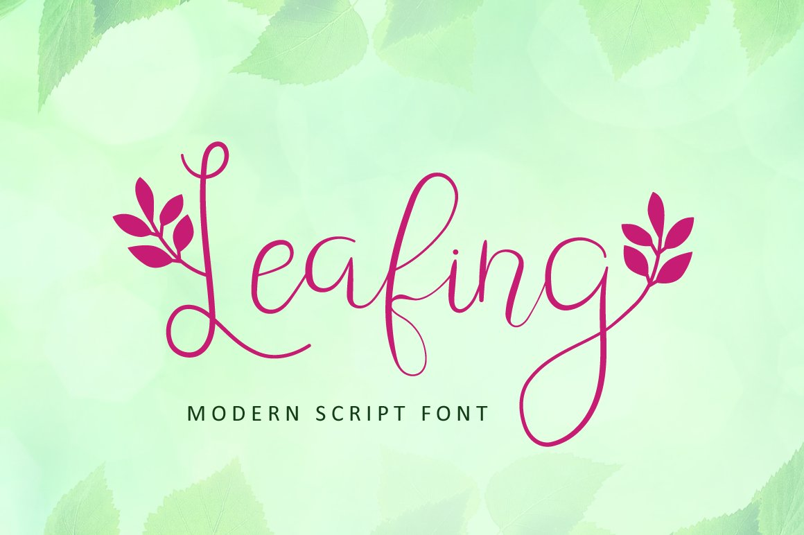 Leafing - Modern Script Font with 3 alternates example image 1
