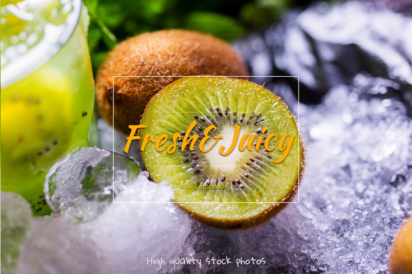 Kiwi lemonade. Fresh tropical drinks with ice and mint. example image 1