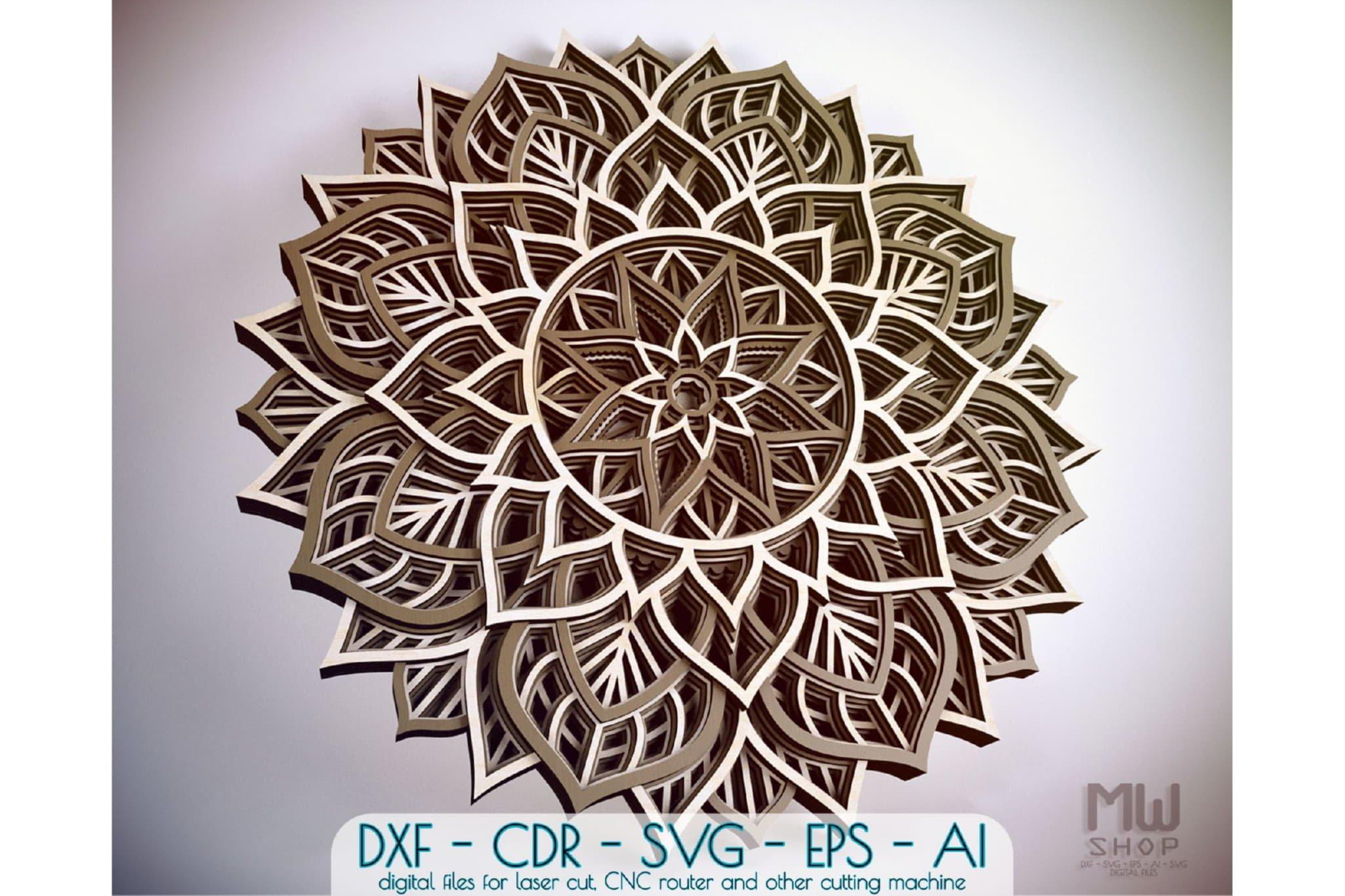 M98 - Flower Mandala DXF, Layered Mandala SVG for Cricut example image 1