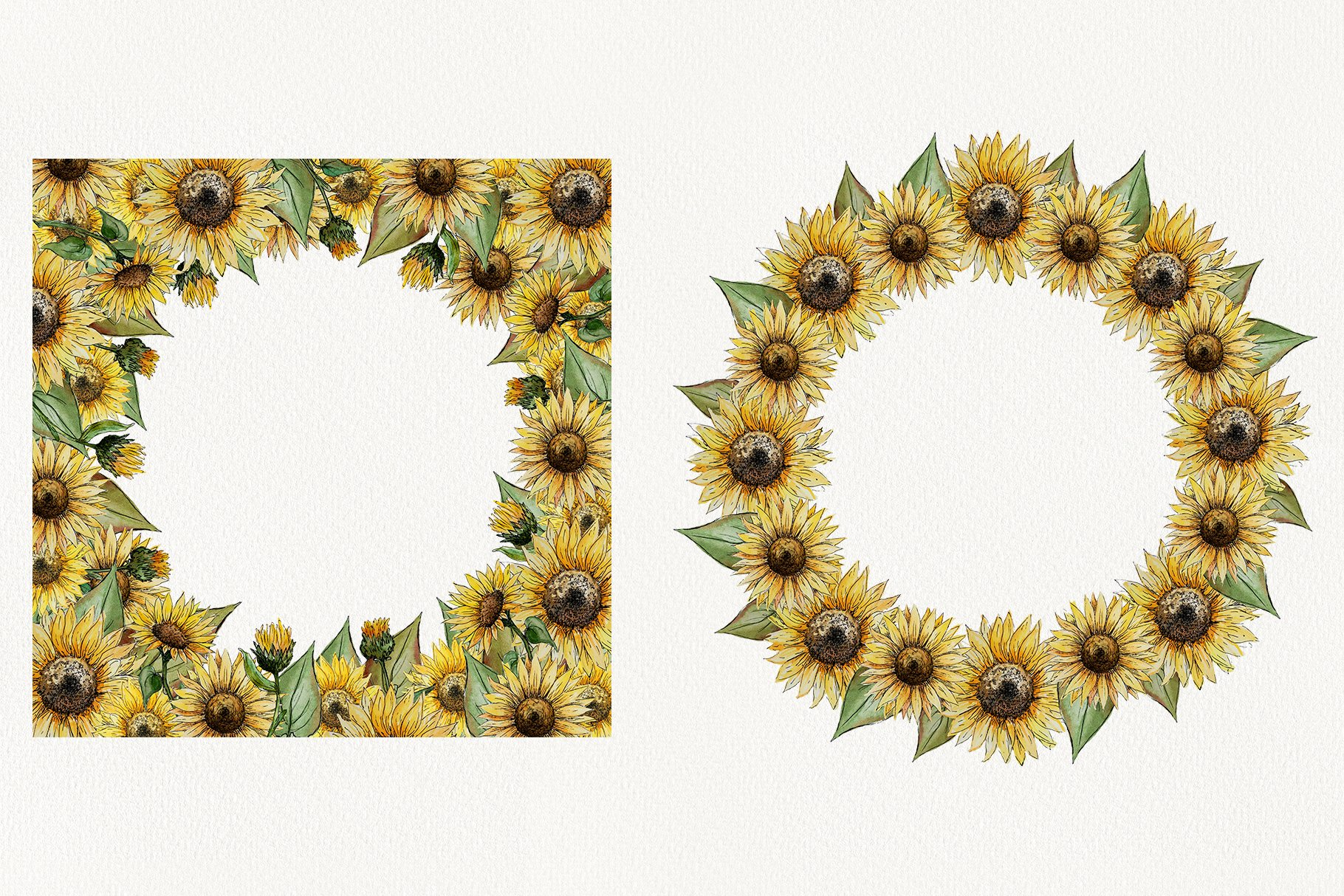 Watercolor Sunflower Clipart Collection example image 9