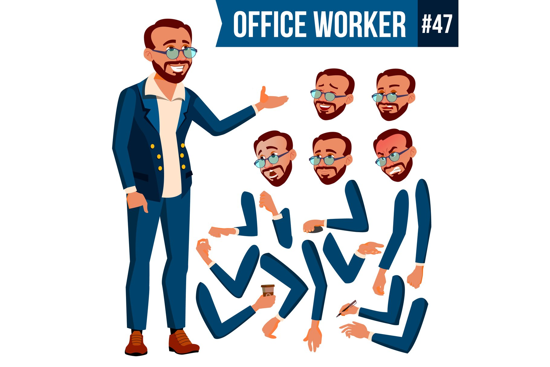 Office Worker Vector. Turkish. Turk. Face Emotions example image 1