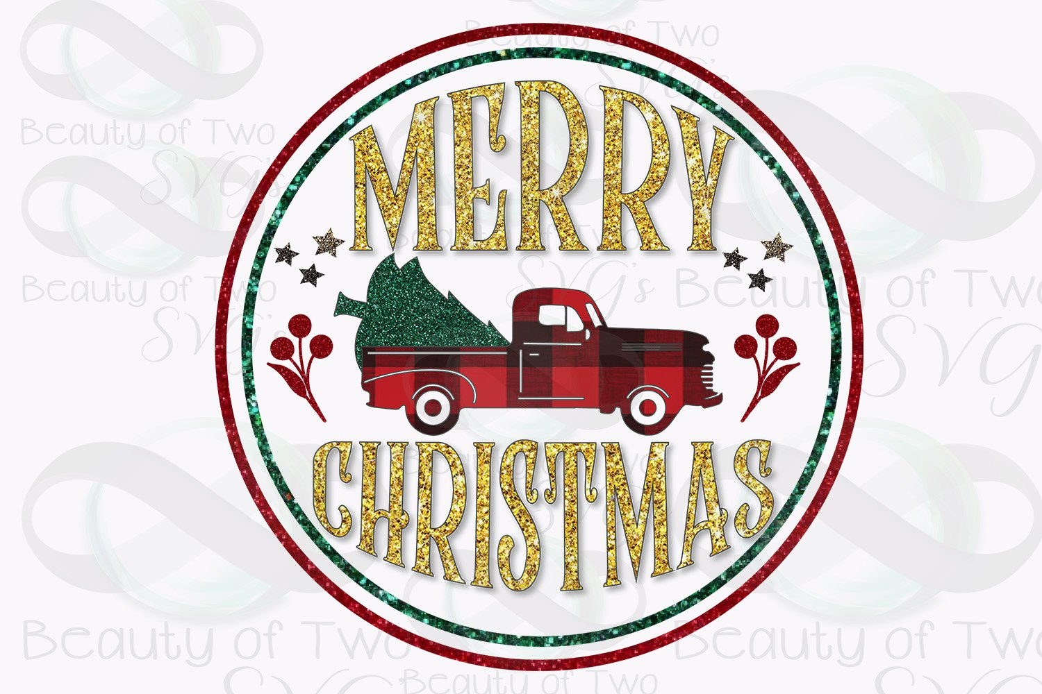 Merry Christmas Red Truck Sublimation Design png 300 dpi example image 1