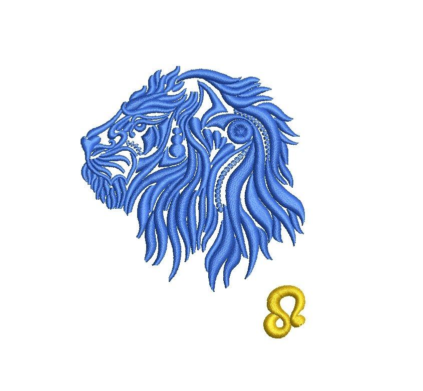 Leo Zodiac Sign - machine embroidery design, satin stitch example image 3