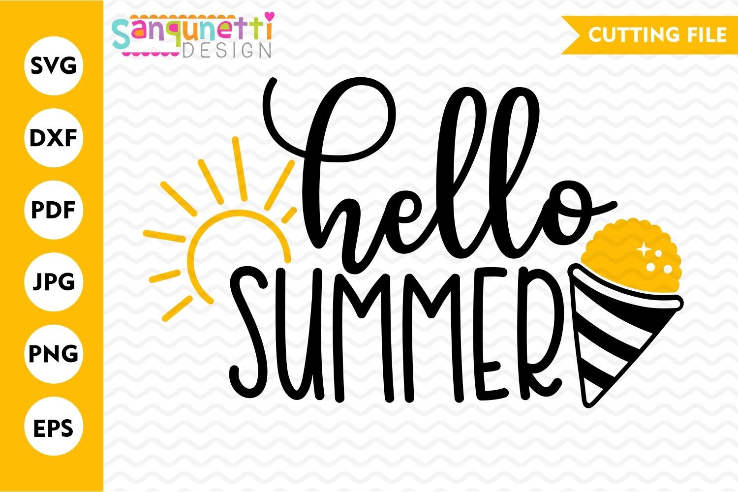 Hello Summer SVG, snow cone svg, summertime svg example image 2