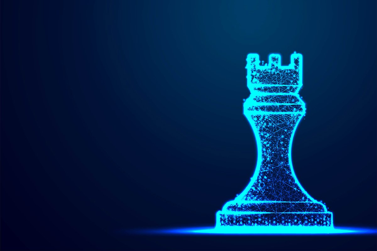 Chess Rook wireframe Polygon blue frame structure, Business example image 1