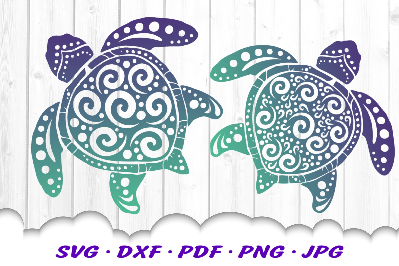 Spiral Sea Turtle SVG DXF Cut Files Bundle example image 1