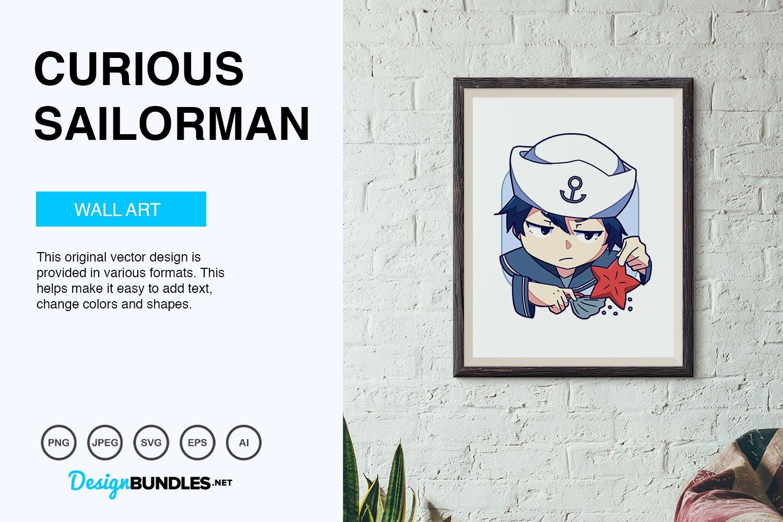 Curious Sailorman Vector Illustration example image 5