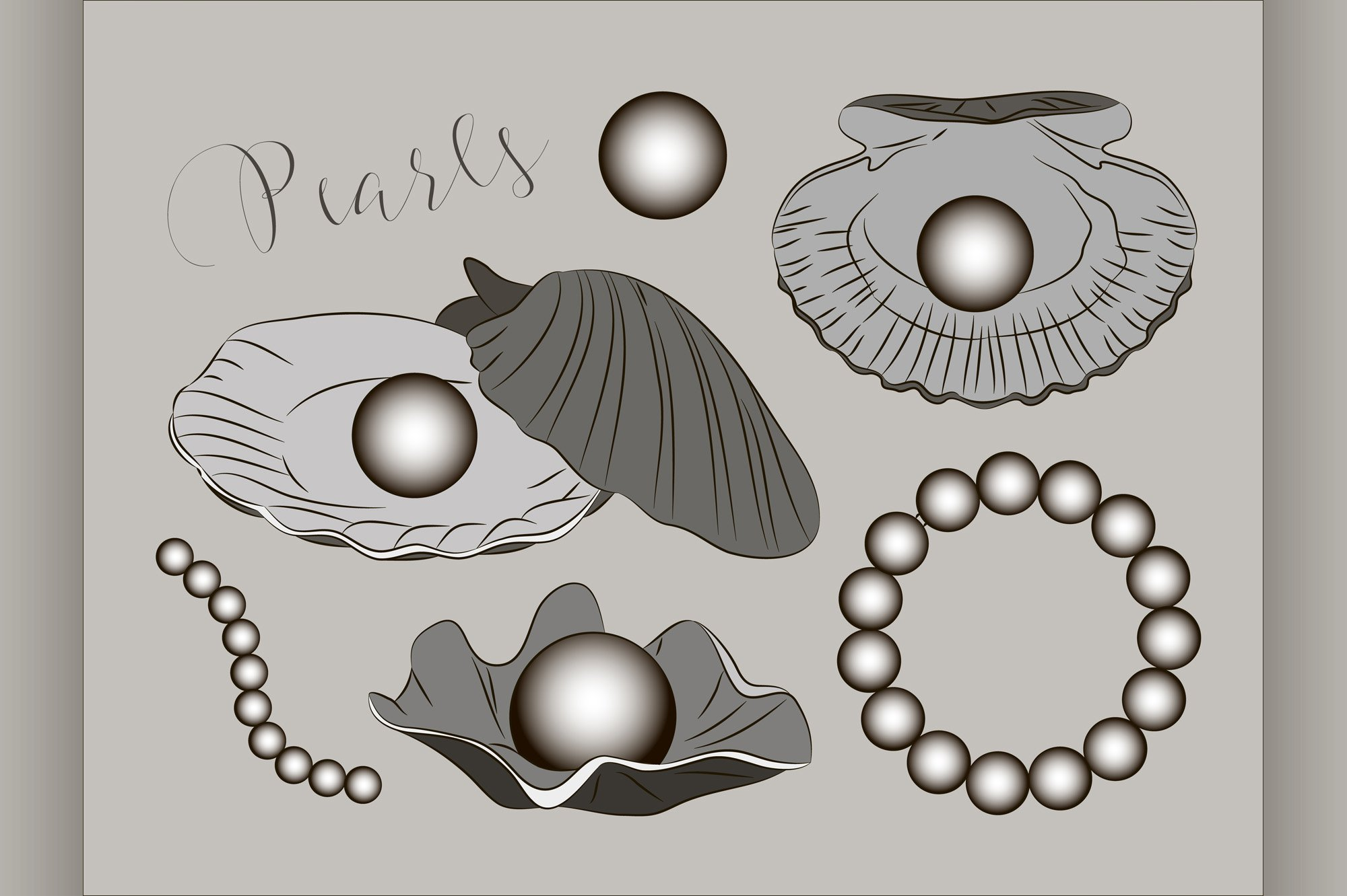 Pearls vector set example image 1