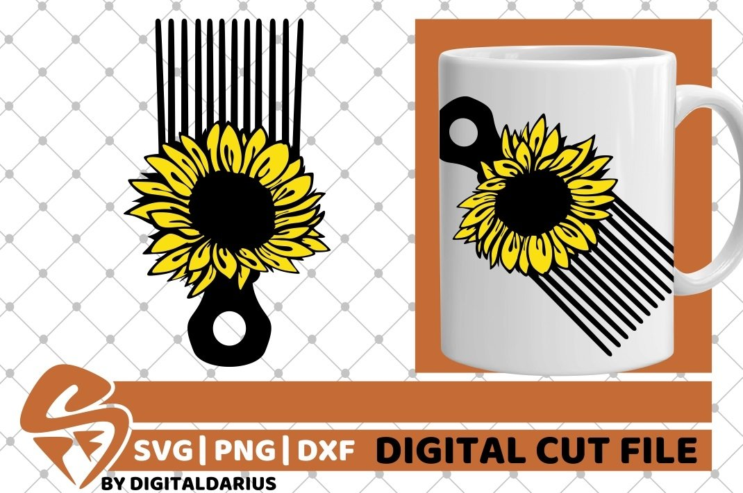 Hair Comb svg, Hairstylist svg, Hairdresser svg, Sunflower example image 2