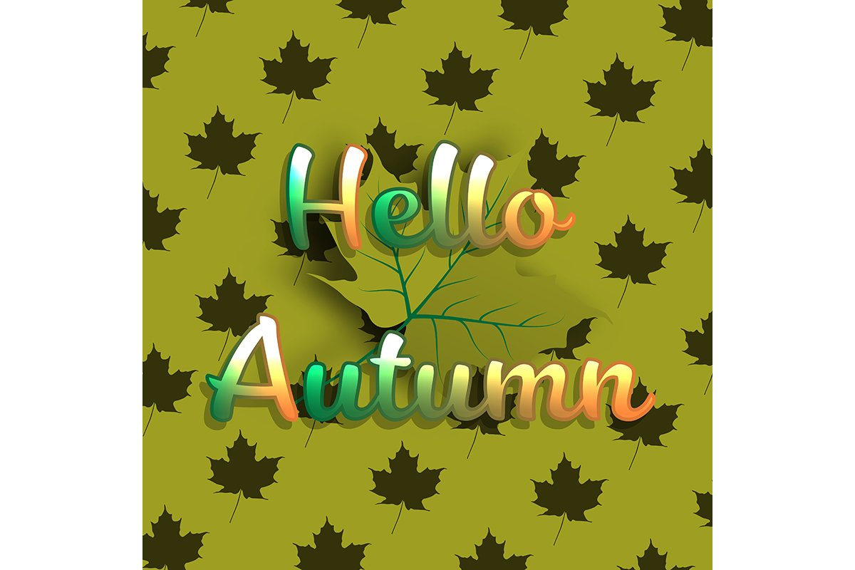 Hello Autumn banner background with green maple leaf example image 1