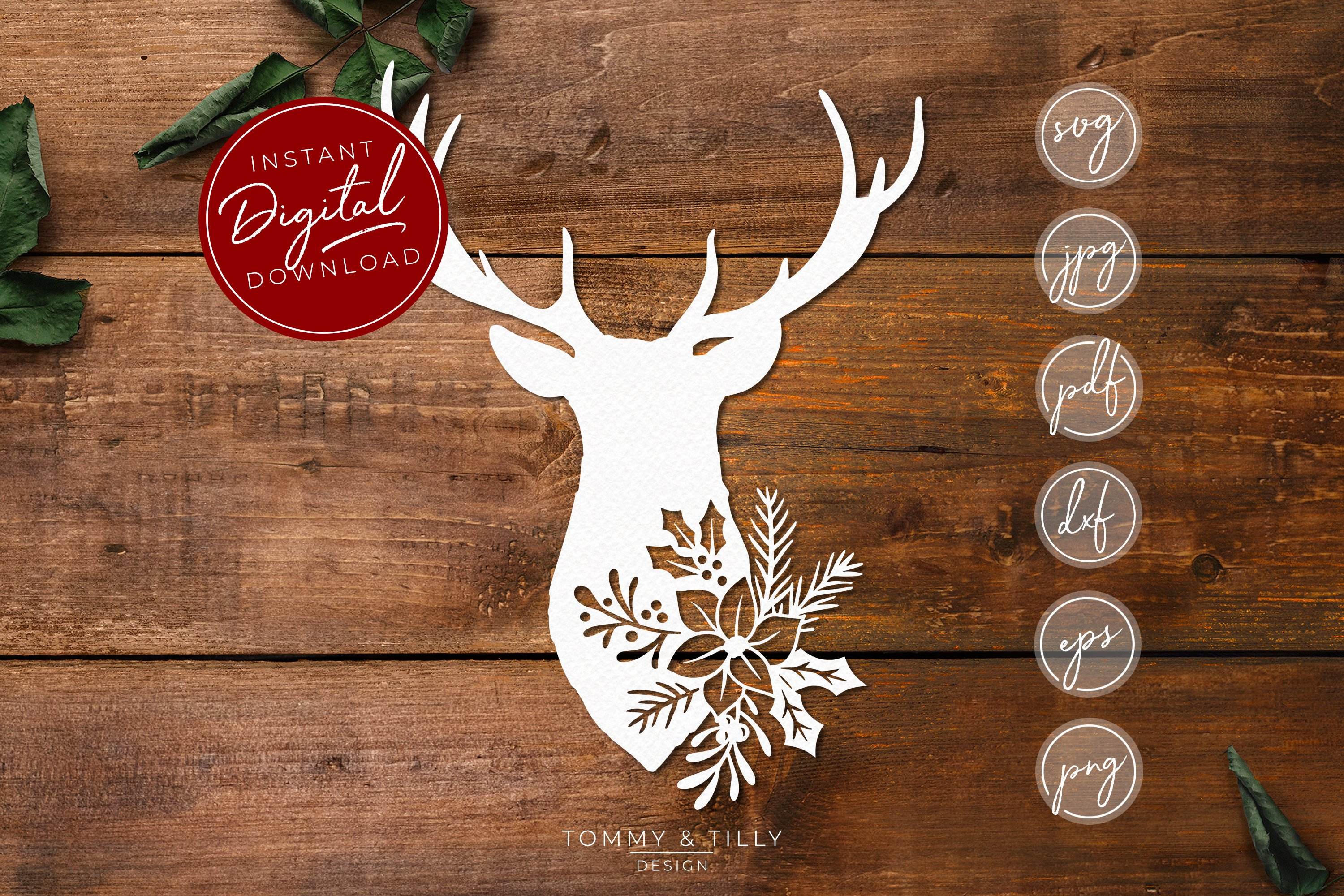 Download Stag Head No.1 - SVG EPS DXF PNG PDF JPG Cut File (372062 ...