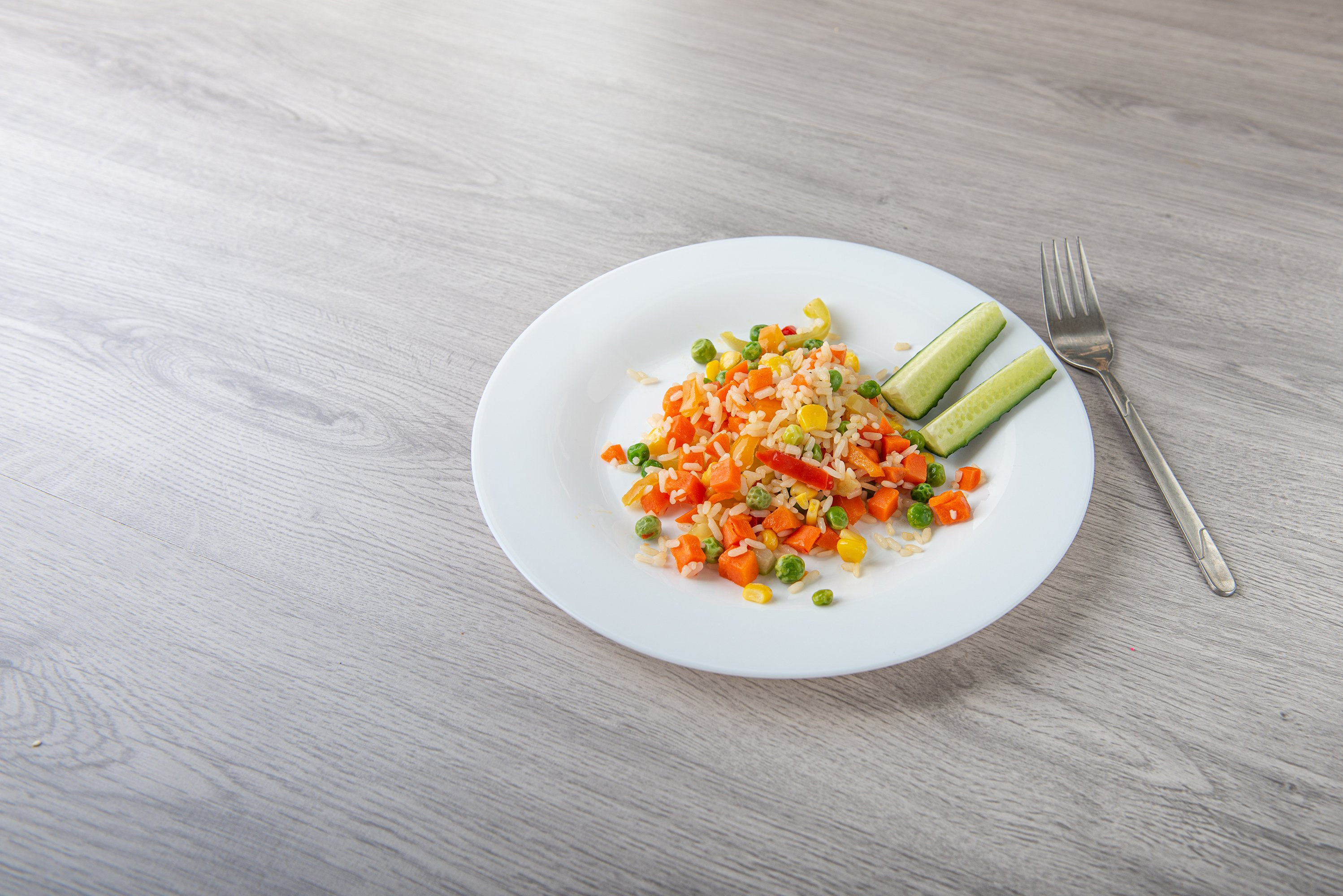 Hawaiian vegetable mix on light wooden table with copy space example image 1