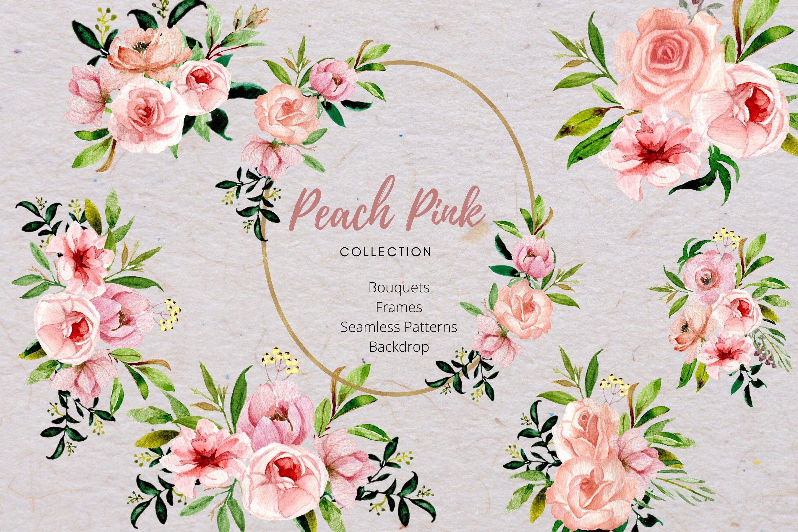 Peach Floral Arrangement PNG Graphics Dusty Pink Rose Bouquet wreath header border frame Blush Watercolor Flower Clipart Set Commercial use