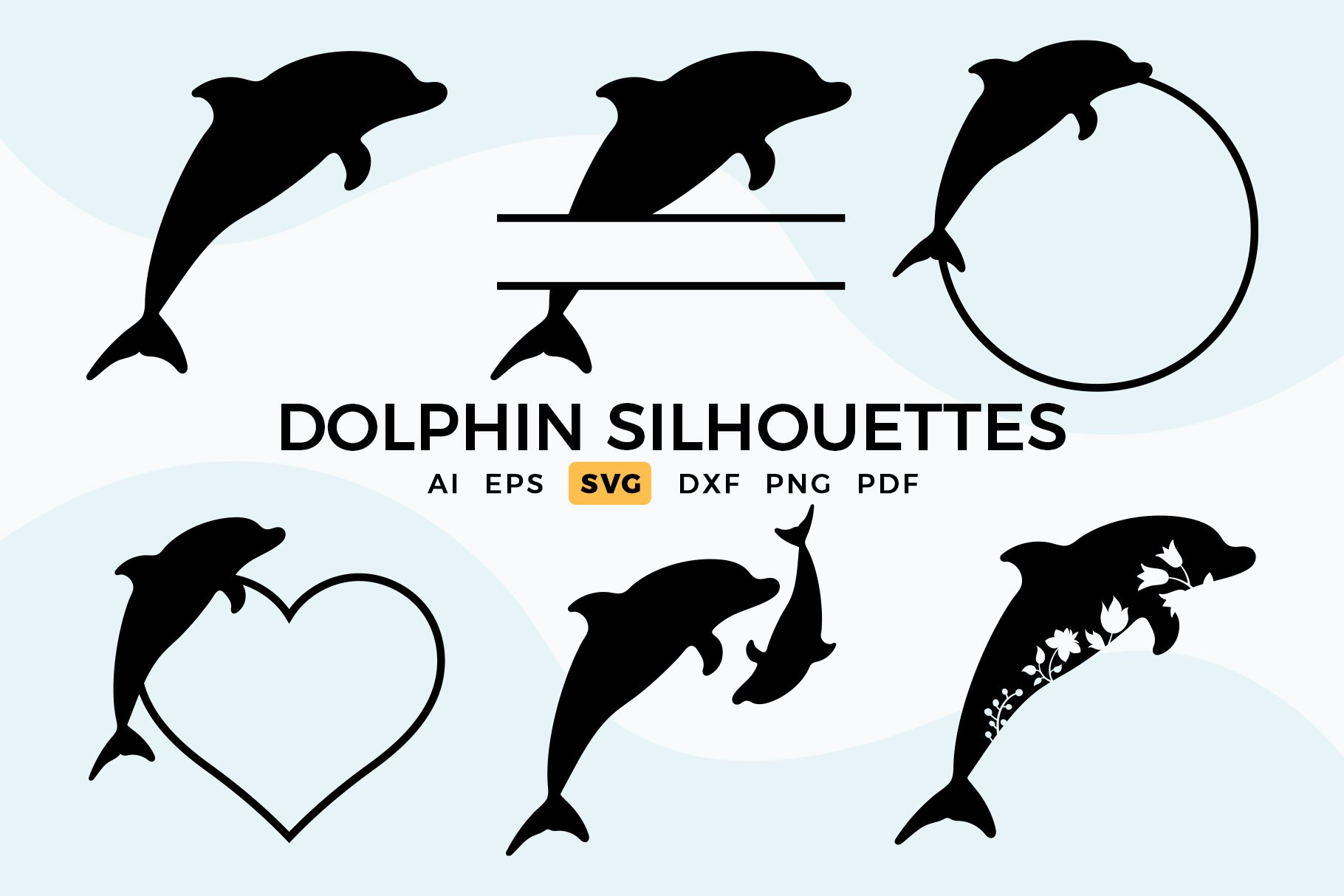 Dolphin Svg Silhouettes Dolphin Clipart 1130338 Cut Files Design Bundles