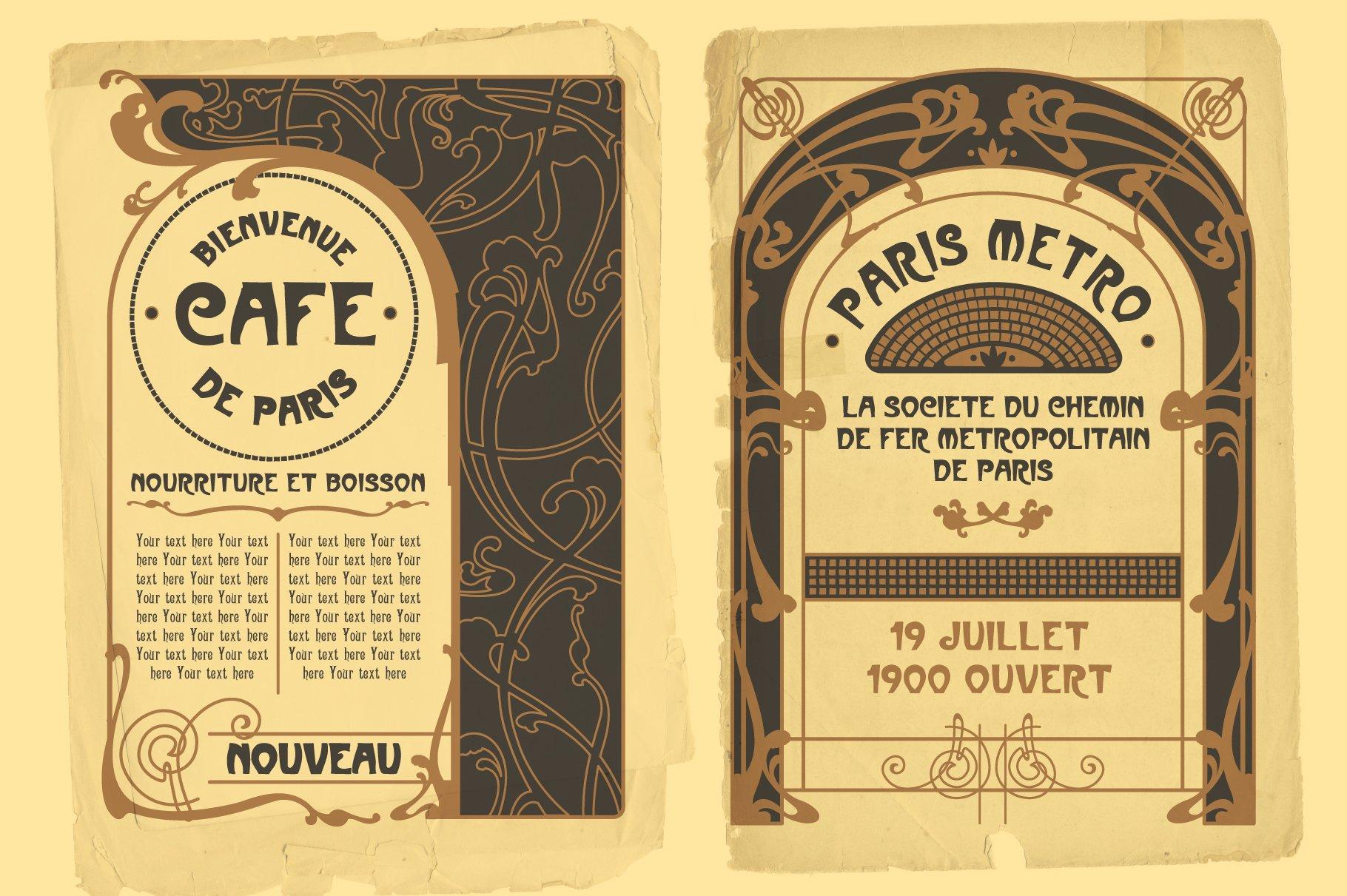 Vintage Art Nouveau Style Design Templates example image 4