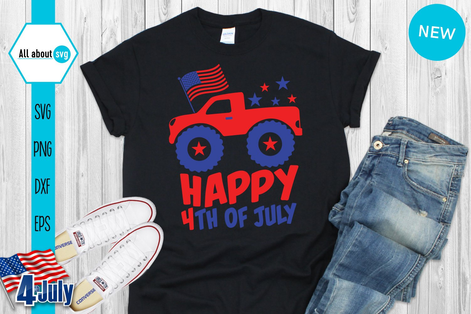 Happy 4th Of July Svg, USA Truck Svg example image 4