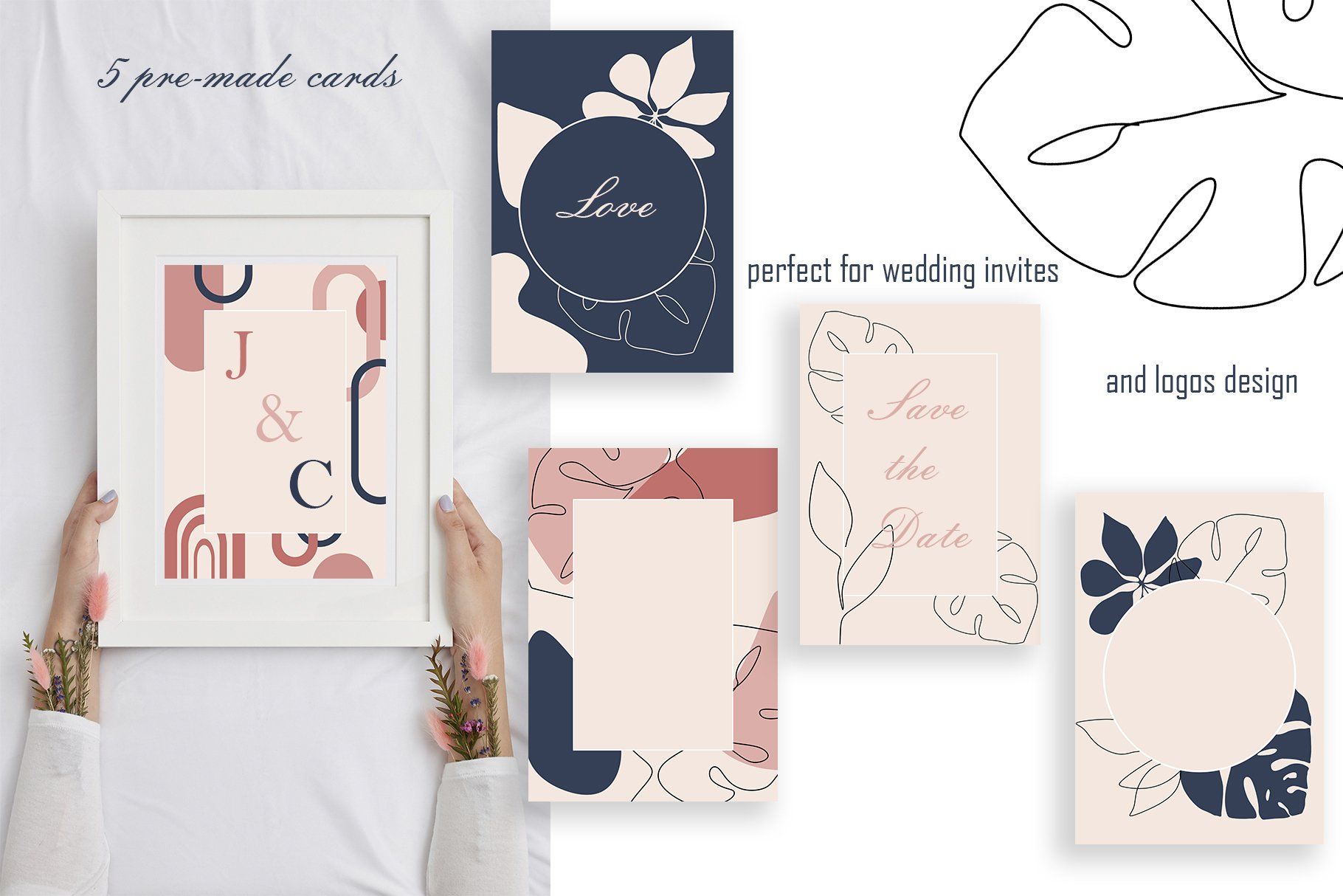 Abstract Collection CREAMY BlUSH & NAVY BLUE bundle prints example image 8