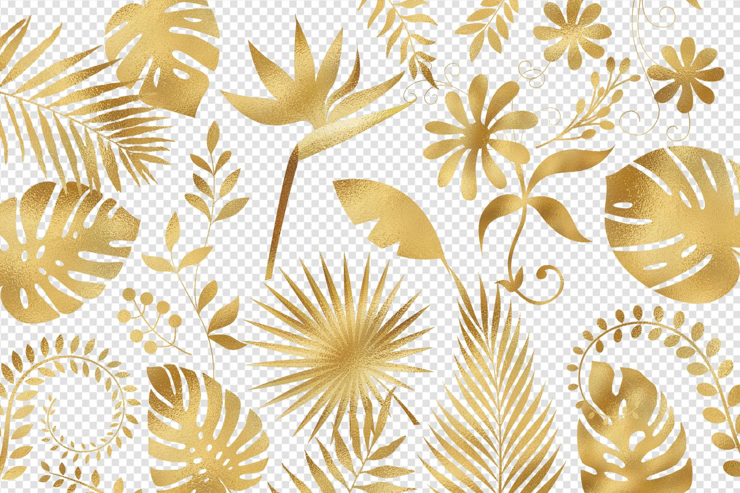Gold Foil Tropical Leaves Clip Art example image 2