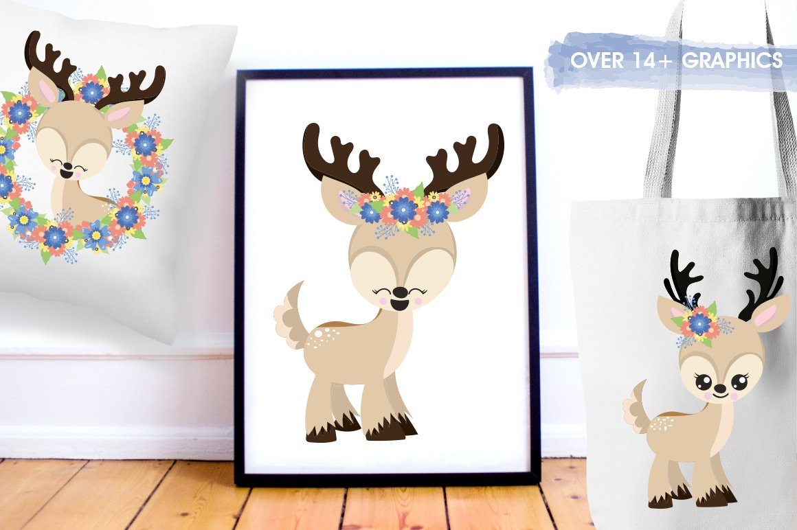 deer flowers antlers Graphics and illustrations, vector example image 5