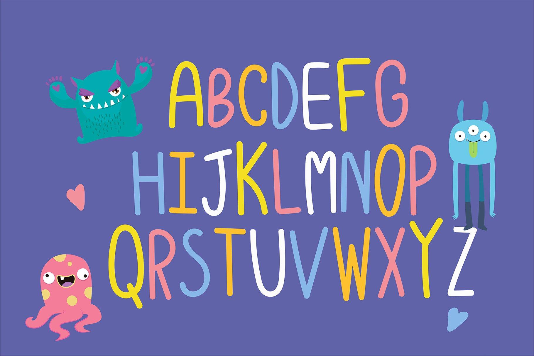 Monster Playground Handwritten- cute kid font Kawaii style! example image 4