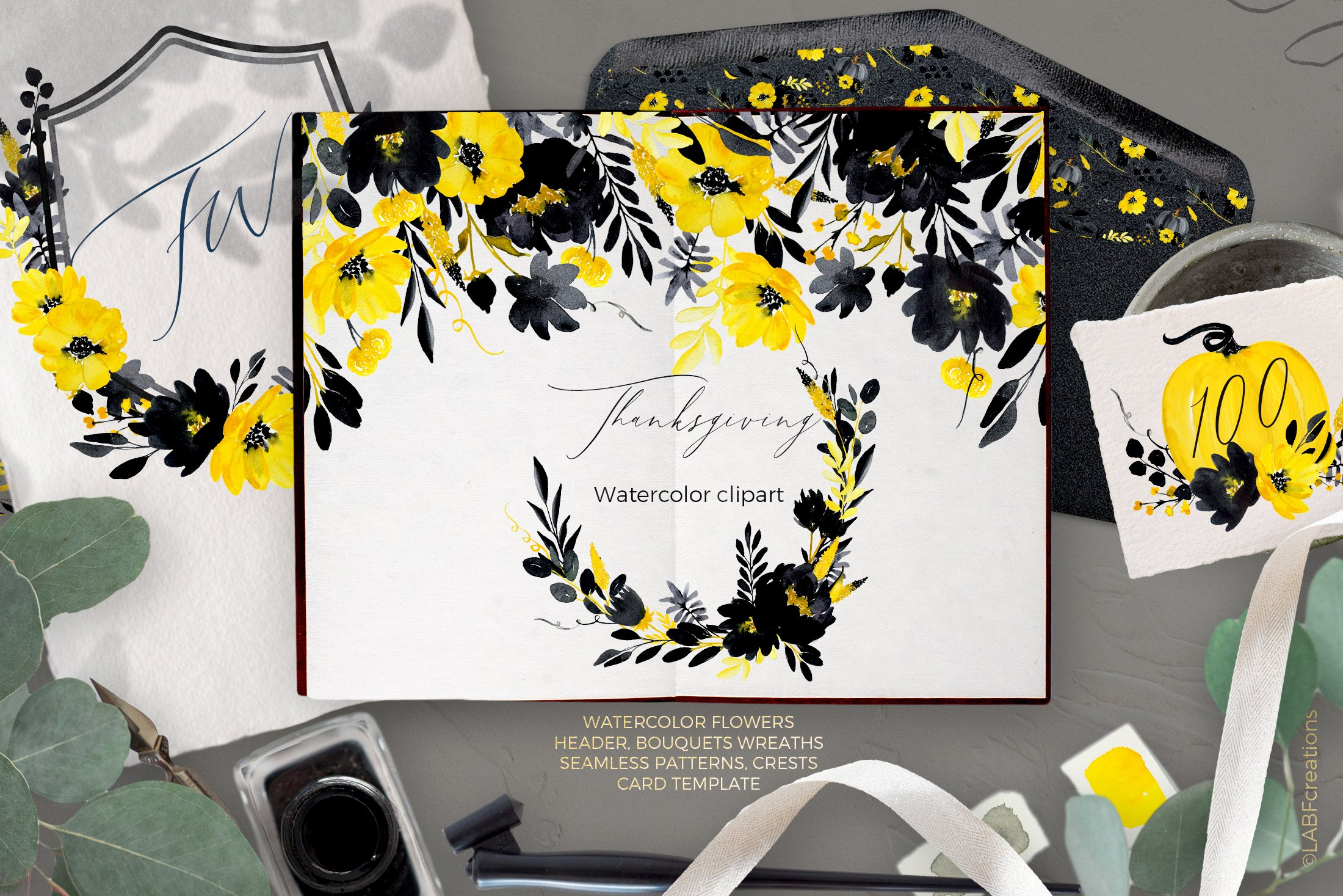 Thanksgiving. Black & Yellow Watercolor flowers example image 8