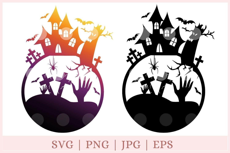 Haunted House Svg Halloween Graveyard Svg Halloween Svg 792450 Cut Files Design Bundles