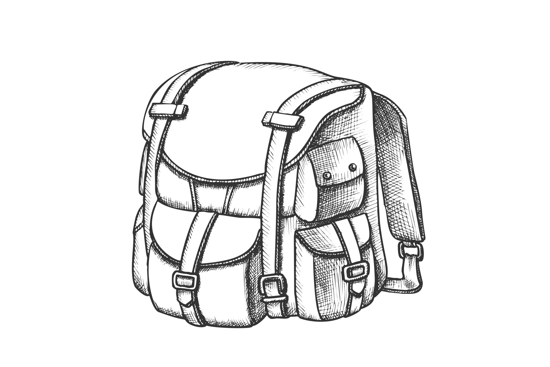 Tourist Travel Backpack Suitcase Monochrome Vector example image 1