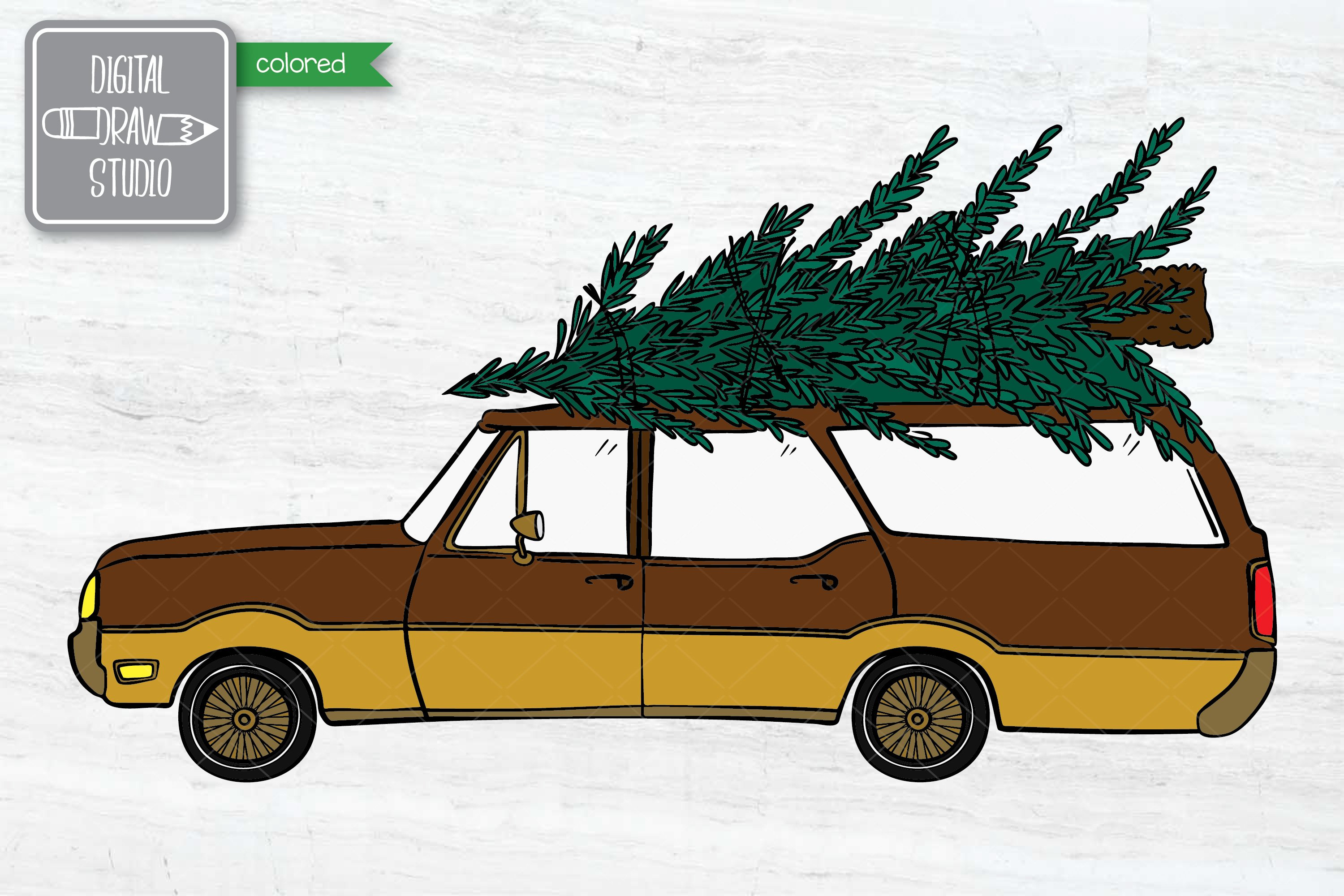 Color Station Wagon Car Christmas | Tree on Roof Top Holiday example image 2