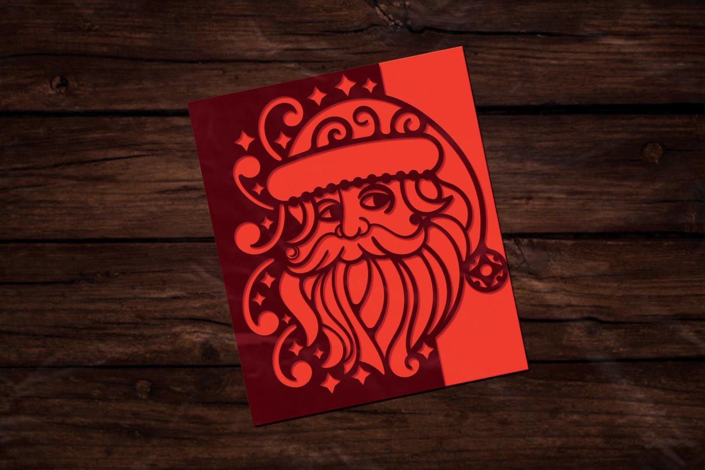 Papercut Christmas Santa Card Cover, Invitation, Spirals example image 3