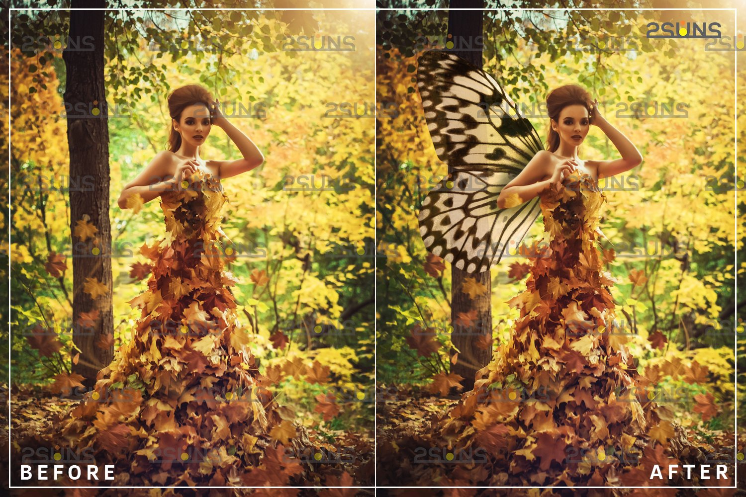 Colorful Butterfly Wings Photoshop Overlay example image 2