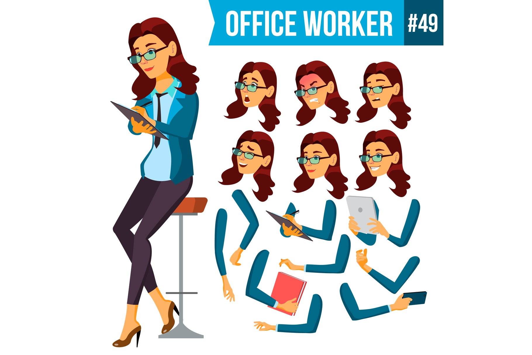 Office Worker Vector.Woman. Secretary example image 1