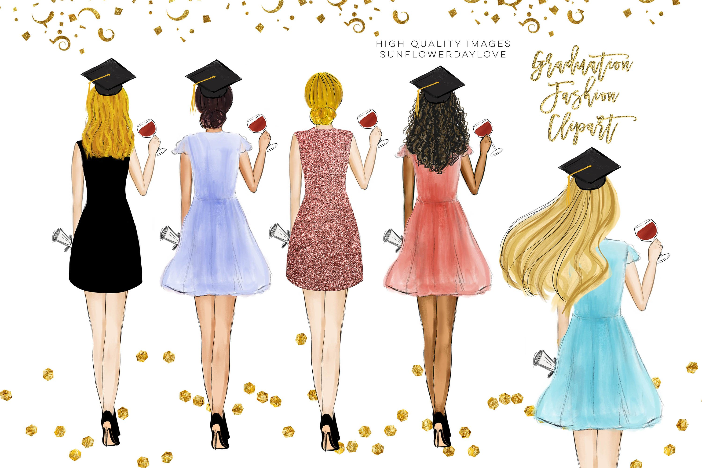 College Senior Graduation Girl Gold Fashion clipart example image 1
