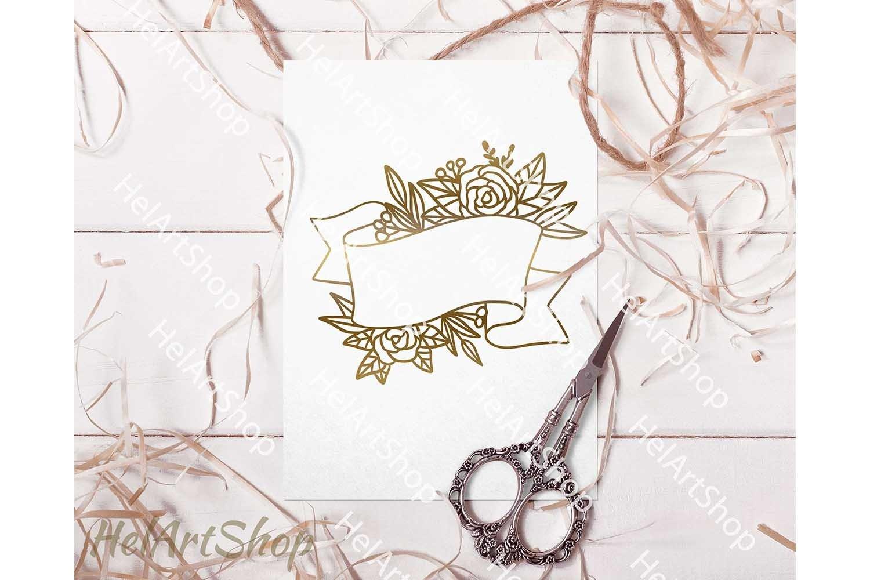Floral ribbon svg, Wedding flowers svg, wedding monogram svg example image 3