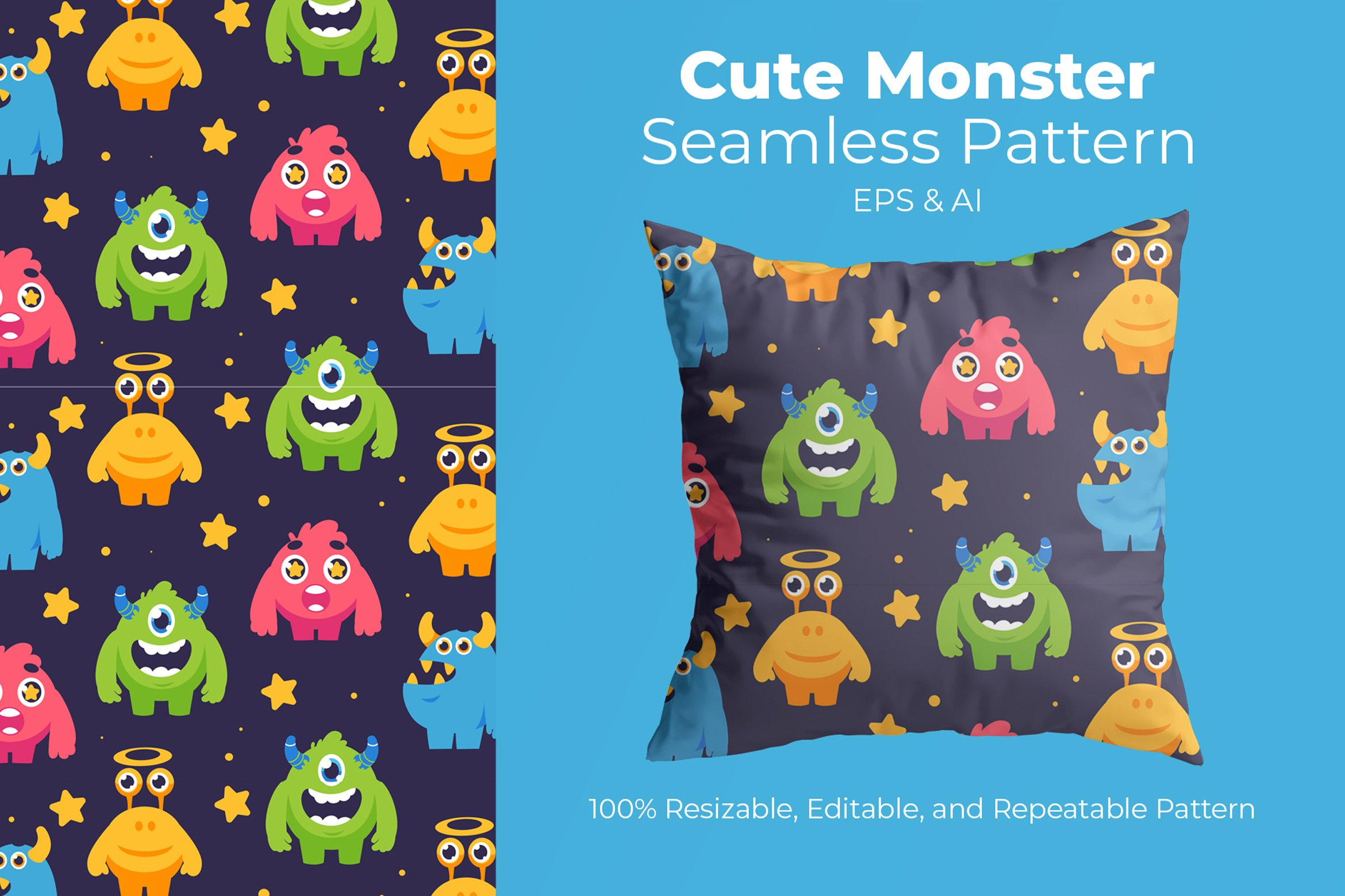 Cute Monster - Seamless Pattern example image 1