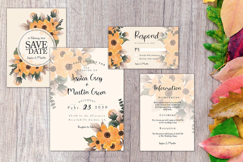 Autumn Floral Wedding Invitation Set example image 3