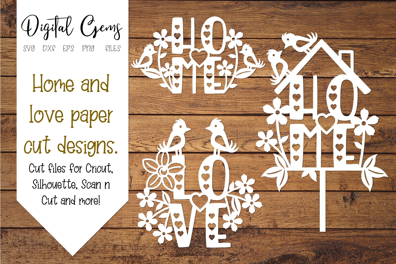 Home And Love Paper Cut Designs Svg Dxf Eps Png Files 252015 Svgs Design Bundles