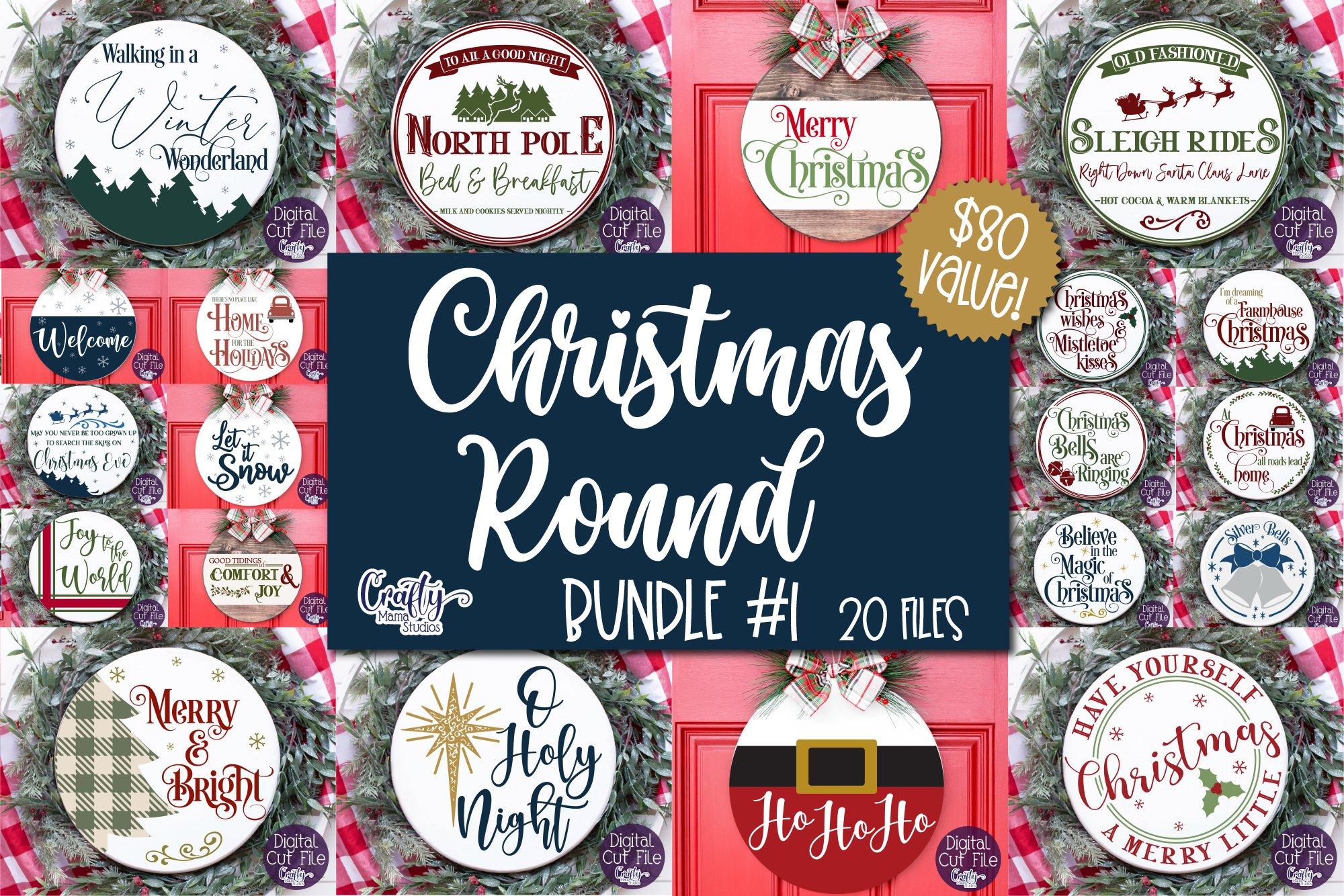 Christmas Svg, Merry Christmas Bundle, Round Sign Christmas