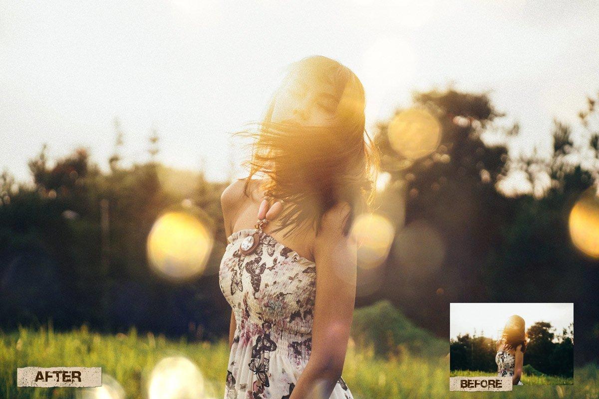 60 Golden light leak effect Overlay example image 4