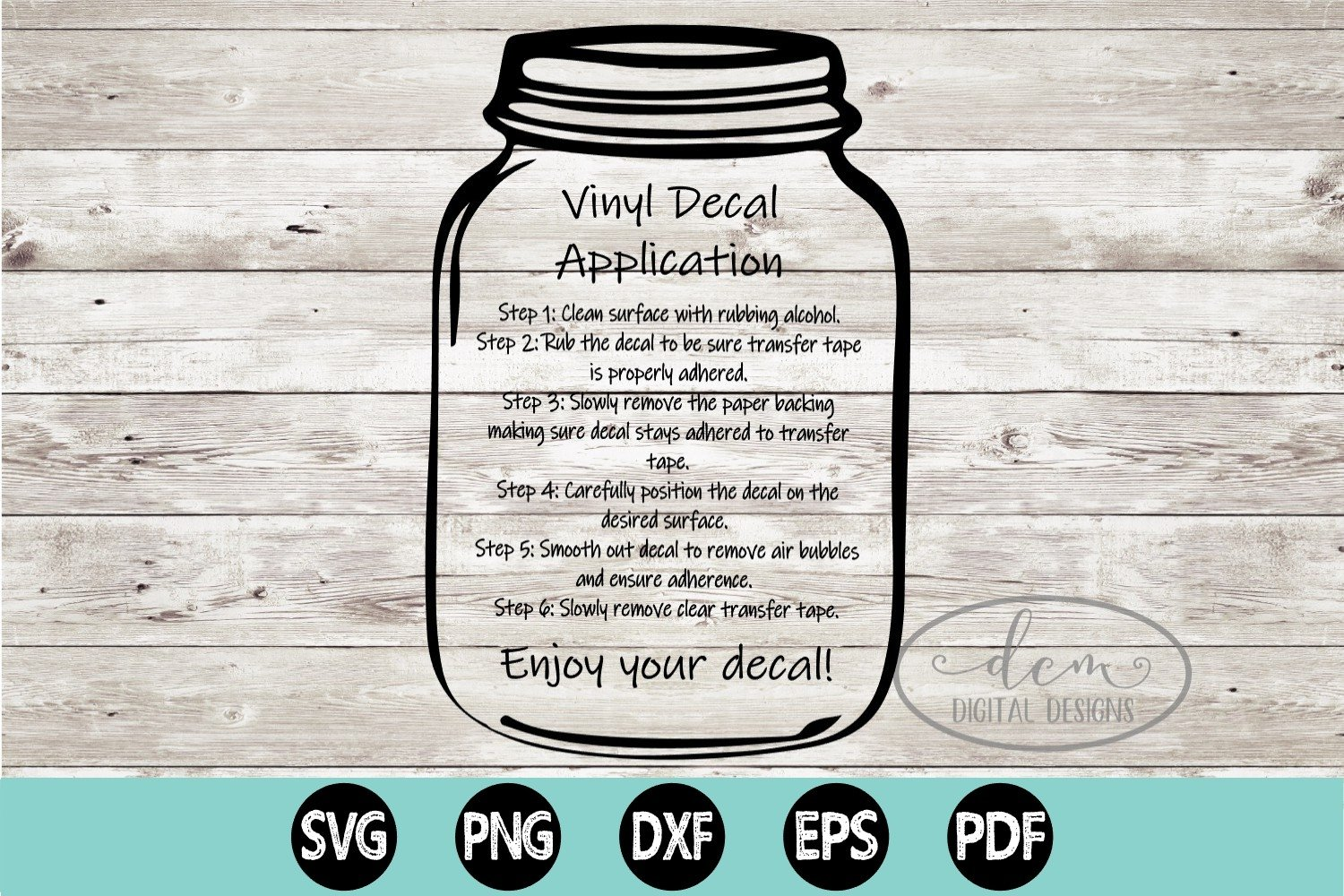 Vinyl Decal Application Instructions printable PNG SVG ...