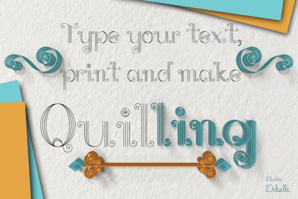 Helevo - Font and Ornaments - Quilling Pack example image 2