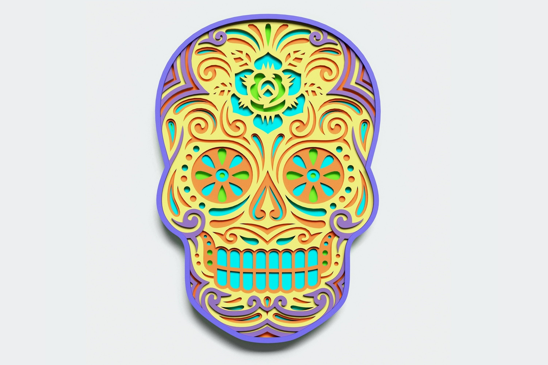 Multilayer Sugar Skull Mandala - S2, for cutting machines example image 1