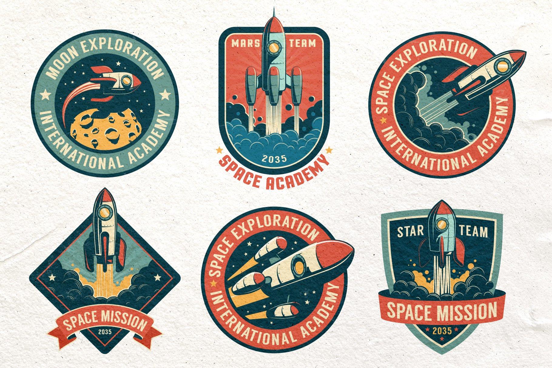Space Rocket Retro Badge example image 3