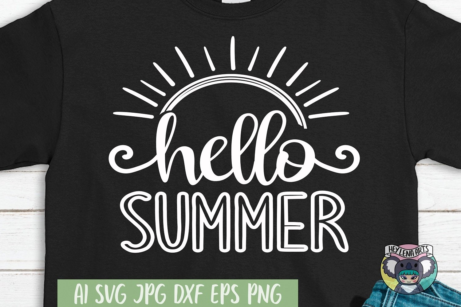 Hello Summer svg, Svg Files for Cricut, Cut File, dxf eps example image 1