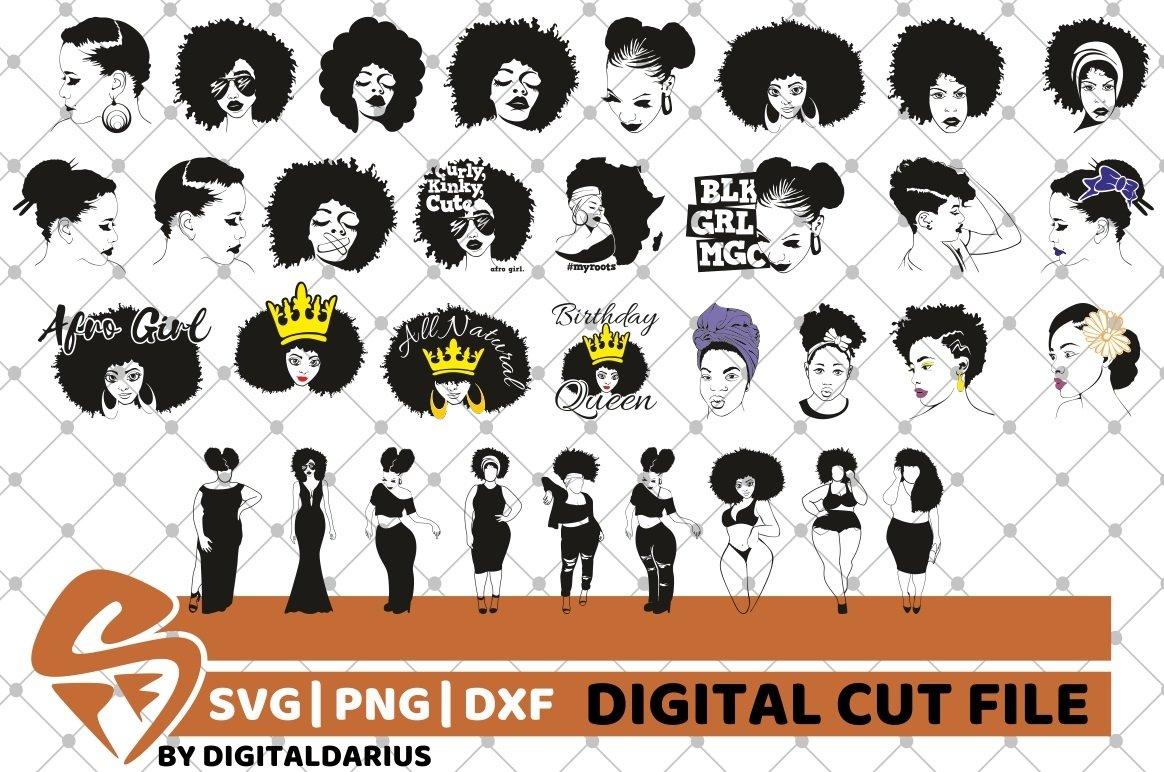 107x Black Woman Designs Bundle SVG, Black Queen, Melanin example image 12