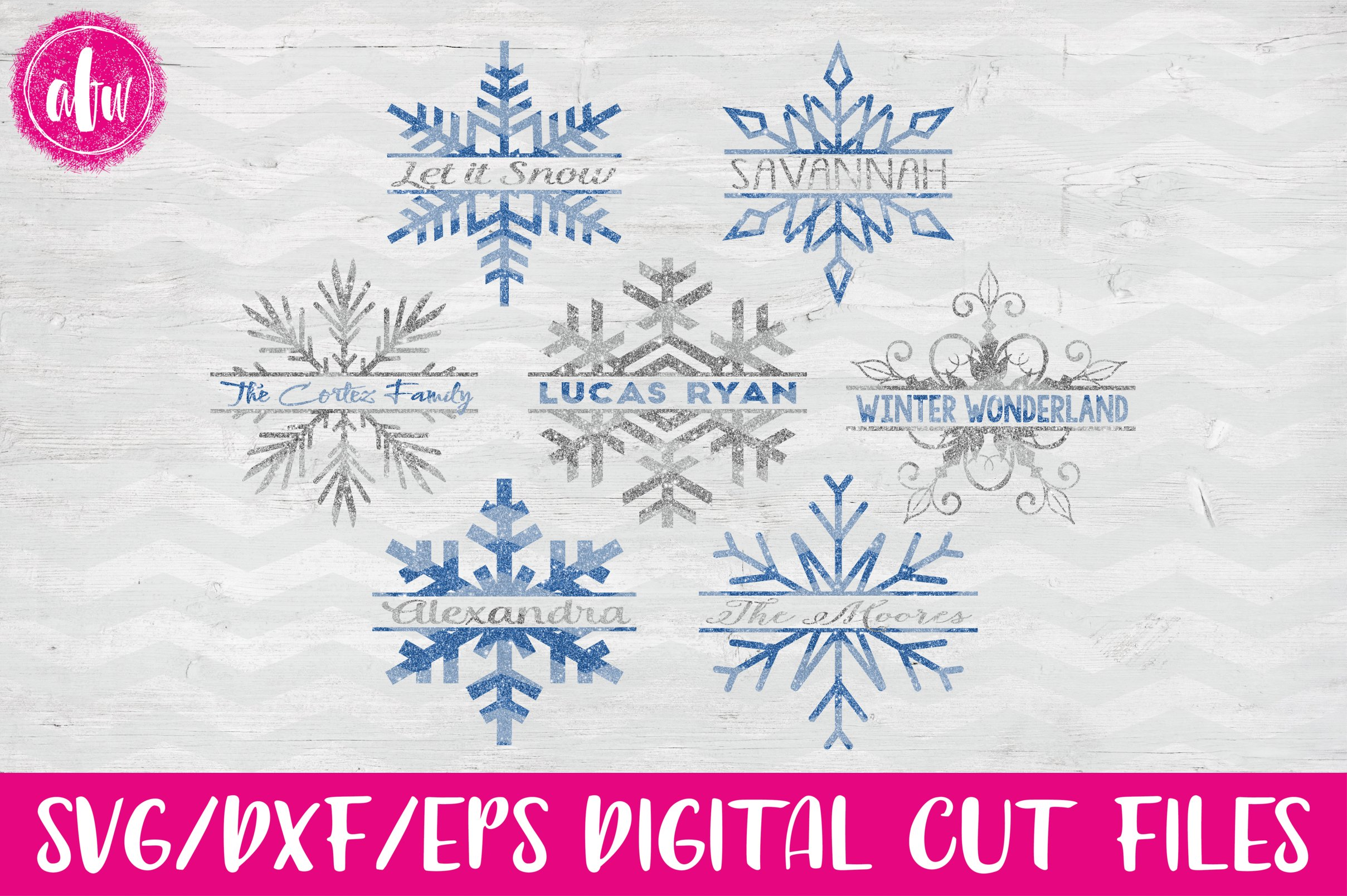 Split Snowflake Set - SVG, DXF, EPS Cut File