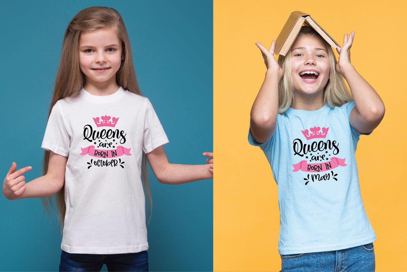 Queens Are Born In.. SVG Bundle 12 Designs example image 4