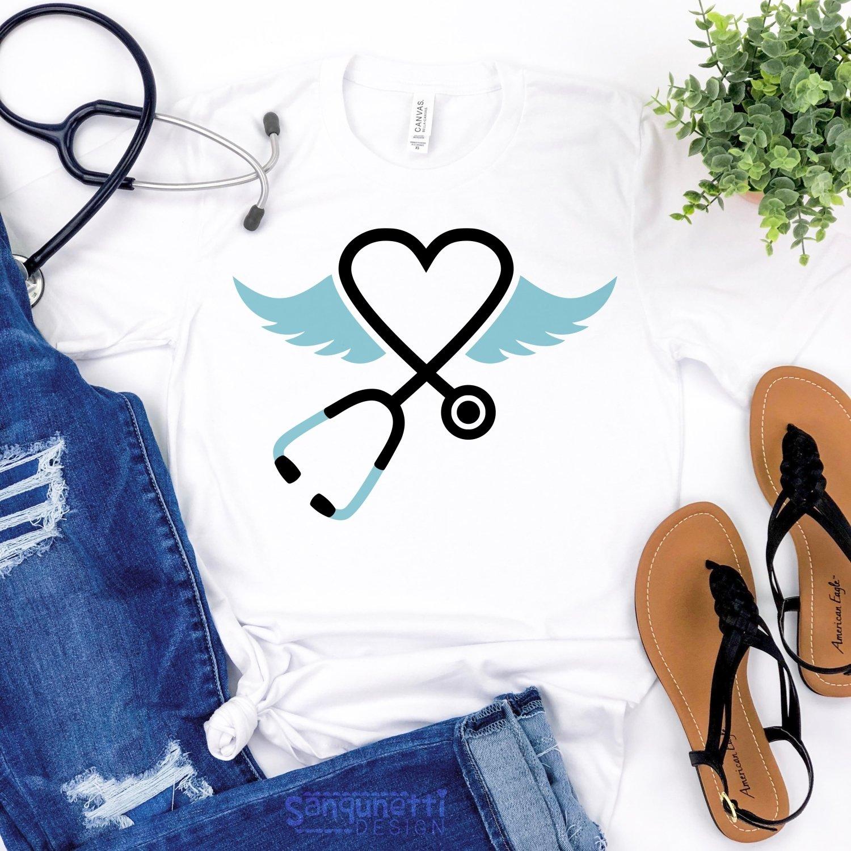 Stethoscope SVG File, nursing angel wings svg example image 3