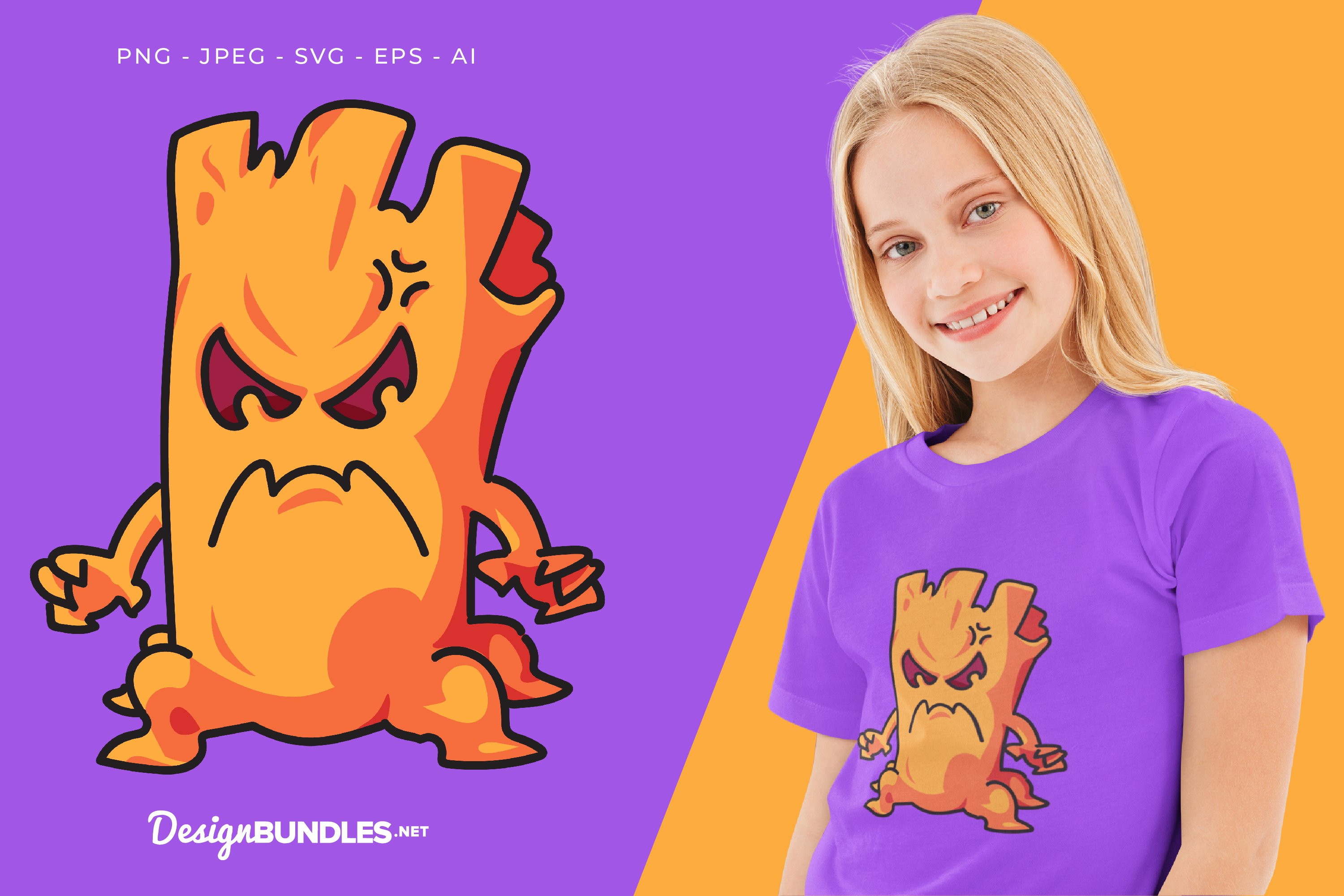 Mad Tree Monster Vector Illustration For T-Shirt Design example image 1