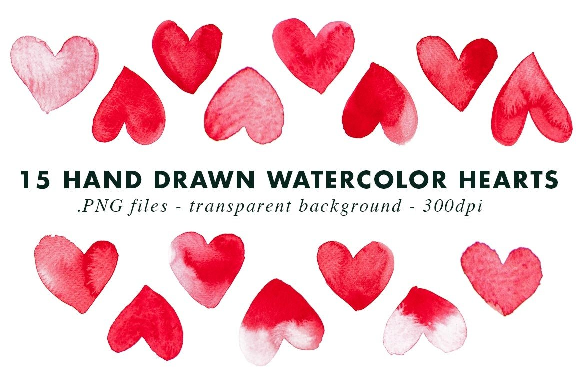 15 Watercolor Heart Illustrations Clipart| PNG & Vector EPS example image 3